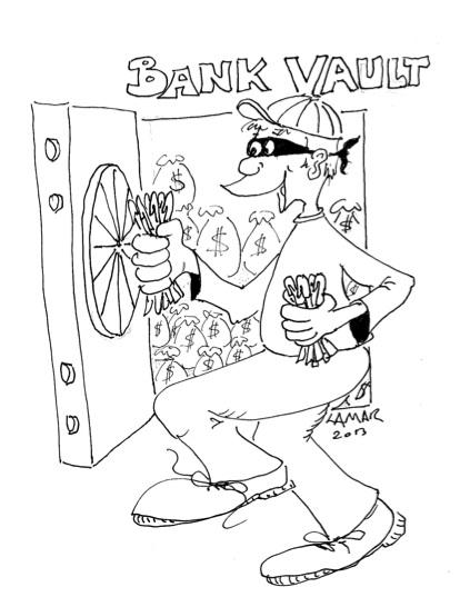 Bank Robber stealing pens